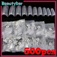 Free shipping 5*500pcs/lot Clear French Acrylic Artificial False Half Fake Nail Art Tips Makeup DIY