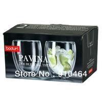 Bodum Thermo-glass Pavina Double Wall Thermo-Glasses 9 oz, Set of 2,Double layer Glass reusable Coffee Cup Mug 250ml