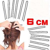 New Arrival Wholesale 1000pcs/lot  6cm Black Plated Thin U Shape Hair Bobby Pin Black Metal Clips Barrette, Hair Accessories 1g
