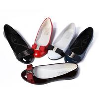 ferra genuine leather fir ferra flat heel personality bow japanned leather quality single shoes gamo round toe women's plus