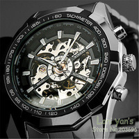 WINNER New Luxury Watch Men Luminous Hands Skeleton Auto Mechanical Watches Wristwatch Free Ship