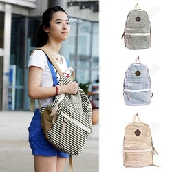 Stripe Preppy Casual Backpack 3 Colors Fashion Canvas School Shoulder Bag Girls Boys Sports Rucksack Free Shipping(China (Mainland))