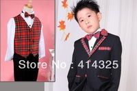 fashion design red plaid  boy's  formal suits tuxedo