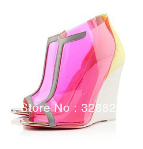2013 New Wedge Shoes High Heel Woman Transparent Wedge Sandals Open Toe Designer Sandals(China (Mainland))