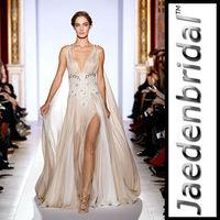 2014 Sexy Chiffon Floor-length A-line Slit JZ0019 Design New Arrival Custom Made Zuhair Murad Evening Dresses Made In China