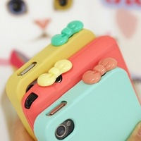 3.5mm mobile phone accessories New Fashion Girl Cute Bow For CellPhone Ear Cap free shipping plug98