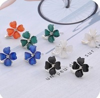 Hot selling orange green blue four leaf Clover luckly flower stud earrings free shipping 48pairs/lot