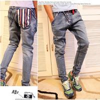 2012 men's clothing male skinny jeans male hole water wash slim harem pants harem pants