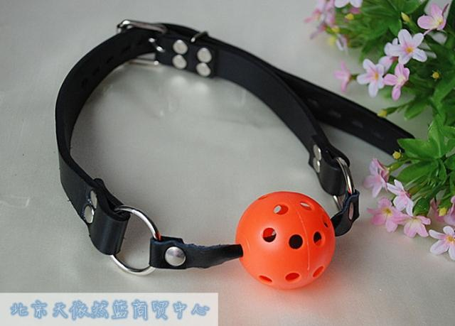 Fa mesh mouth ball red black orange genuine leather Small sex products adult(China (Mainland))