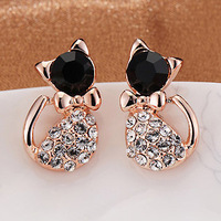 Fashion Lovely Crystal Rinestone bow bowknot Cat Stud Earrings Free shipping 24pairs/lot