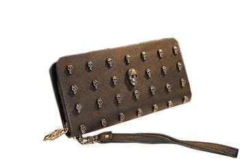 high quality vintage punk skull cowhide wallet female male long design men/women wallet mobile phone bag free shipping