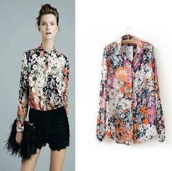 new Vintage Chiffon shivering women's long sleeve shirt Europe and America style pattern shirt free shipping