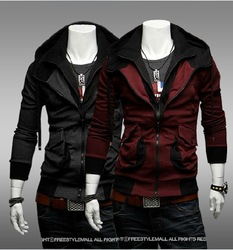 Free Shipping 2013 New Casual Brand Men Sport Varsity Jacket Coat Fashion Bomber Winter Jacket For men 2 Colors M-XXL(China (Mainland))