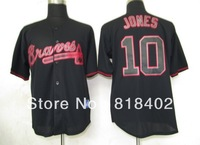 Free shipping-Atlanta Braves #10 Jones Black Fashion jersey,Braves fan jerseys