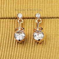 ITALINA ol gentlewomen heart crystal stud earring earrings female accessories