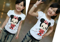 free shipping 2013 children's t-shirt short sleeve sport  girls shine stone minnie cartoon white cotton summer t shirts 5pcs/lot