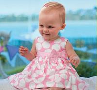 Pink baby dress/Round dots baby girl dress/Sleeveless lovely baby dress
