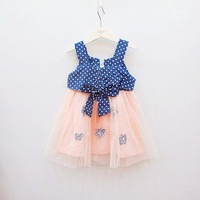 2013 summer female child yarn flower dot denim one-piece dress suspender skirt tulle dress