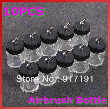 Free Shipping 10PCS/lot Airbrush Air Brush Glass Bottle Jar w/ Standard Suction Lid Pump Spray Top