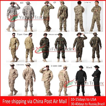 HOT SELLING 9 KINDS Camouflage Military Combat Training Uniform sets Shirt + Pants Free shipping
