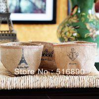 Free Shipping!3pcs/lot linen storage bag flower vase waterproof storage basket desk organizer