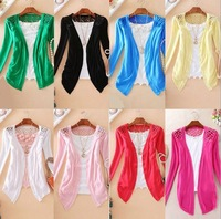 Free Shipping 100pcs/lot 8 Candy Color Women's Fashion long sleeve hollow out cardigan bottoming shirt lady's sweater/knitwear