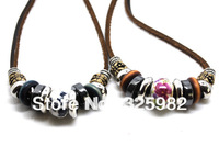 Min order $15.00 mix order Wholesale 2 pcs/Lot 2PCS Lovers Ethnic Hemp Adjustable Necklace Choke Jewelry Gift Ceramics Bead
