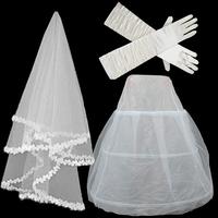 Free shipping Bridal veil elastic satin gloves gauze bustle piece set  wholesale/retail