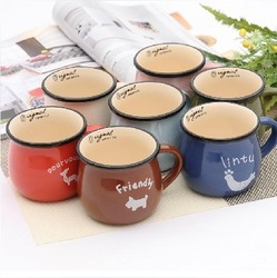 min.order &10 free shipping 4417 at home ceramic cup thickening mug milk cup breakfast cup glass coffee cup(China (Mainland))