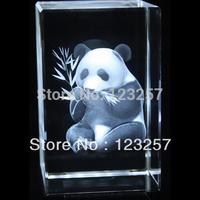 New! 2014 Creative gift Wholesale 5*5*8cm 3D laser engraved Crystal image animal series Panda souvenir gift home decoration