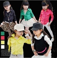 5pcs/lot new 2014 spring baby girls fashion blouses kids children long sleeve shirts ZZ0513