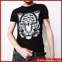2013 Summer Mens fashion t-shirt popular t shirts for men,tiger printed tees short-sleeved cotton t shirt Asia S M L XL XXL C153