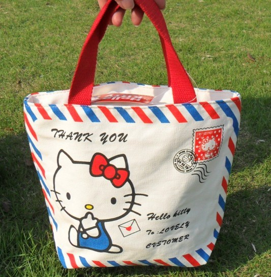 Hello Kitty Canvas bag Cotton bag for ladies girls bag, lady handbag fashion(China (Mainland))