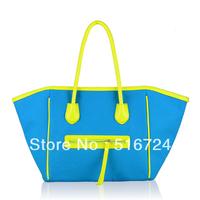 Uttus 2013 color block neon color smiley bag canvas bag women's handbag
