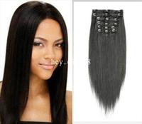 "Virgin BrazilianAAA 14""-22"" Human Hair Clips In Extensions 7Pcs 70g #1B Natural Black"
