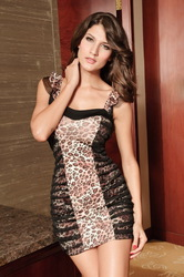 Women full dress leopard strap V-neck sexy wild elf sexy hip dress Miniskirts(China (Mainland))
