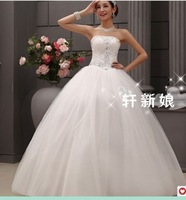 296 Free shipping newest women fashion sexy beadings back lace up korean style gown wedding dresses