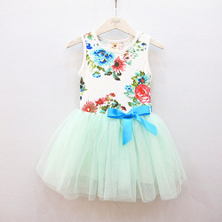 Baby girl lace dress,sleeveless light blue flowers, satin bow kids tutu dresses, children clothing,3pcs/lot(China (Mainland))