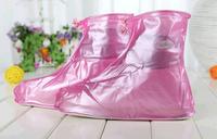 1 pair women's lady girl PVC waterproof flats Rain Boots Shoes Cover flattie Covers Zipper Up Overshoe Reusable