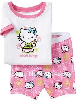 2013 HOT-SELLING!  hello kitty cotton baby pajamas,kids short sleeves girls cotton pyjamas Free shipping 6 sets/lot ( 6 sizes)
