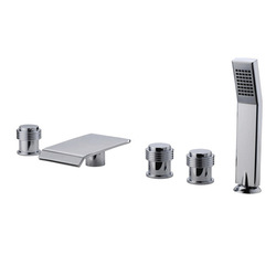 5pcs bathtub faucet deck mounted bathroom basin hot/cold mixer taps with abs hand showr faucet set(China (Mainland))