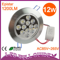 Wholesale 10pcs/lot 12w led ceiling light,Epistar,1200lm,,AC85V~265V,CE&ROHS,2 year warranty,Free shipping DHL/FEDEX