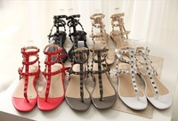 Free shipping 2013 new fashion women's flat sandals rivet shoes flip shoes