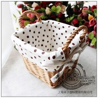 Rustic rattan storage basket storage box flower at home supplies the wicker small basket