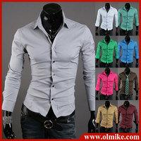 2013 New Fashion Men's Stylish Casual Slim Fit shirt Long Sleeve Dress Shirts 2Color Black Blue S/M/L/XL/XXL/XXXL free shipping