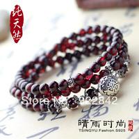 silver claretred  natural stone bracelet natural crystal thai silver handmade 925 bracelet