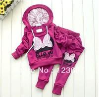 4 sets/lot Girls Cartoon Clothing Set Baby Kids Lace Minnie Sports Suit Children Hoodie + Harem Pants 2pcs Garment Baby Clothes