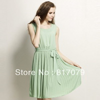 Free shipping 2013 women's Newest green pleated silk chiffon tank dress lady sleeveless summer dress with belt,S M L XL