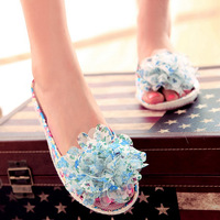 Summer new arrival 2013 sandals open toe shoe sweet lace flower shoes platform wedges female slippers