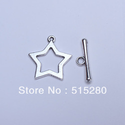 50 Sets Silver Tone Star Toggle Clasps Lead Free(China (Mainland))